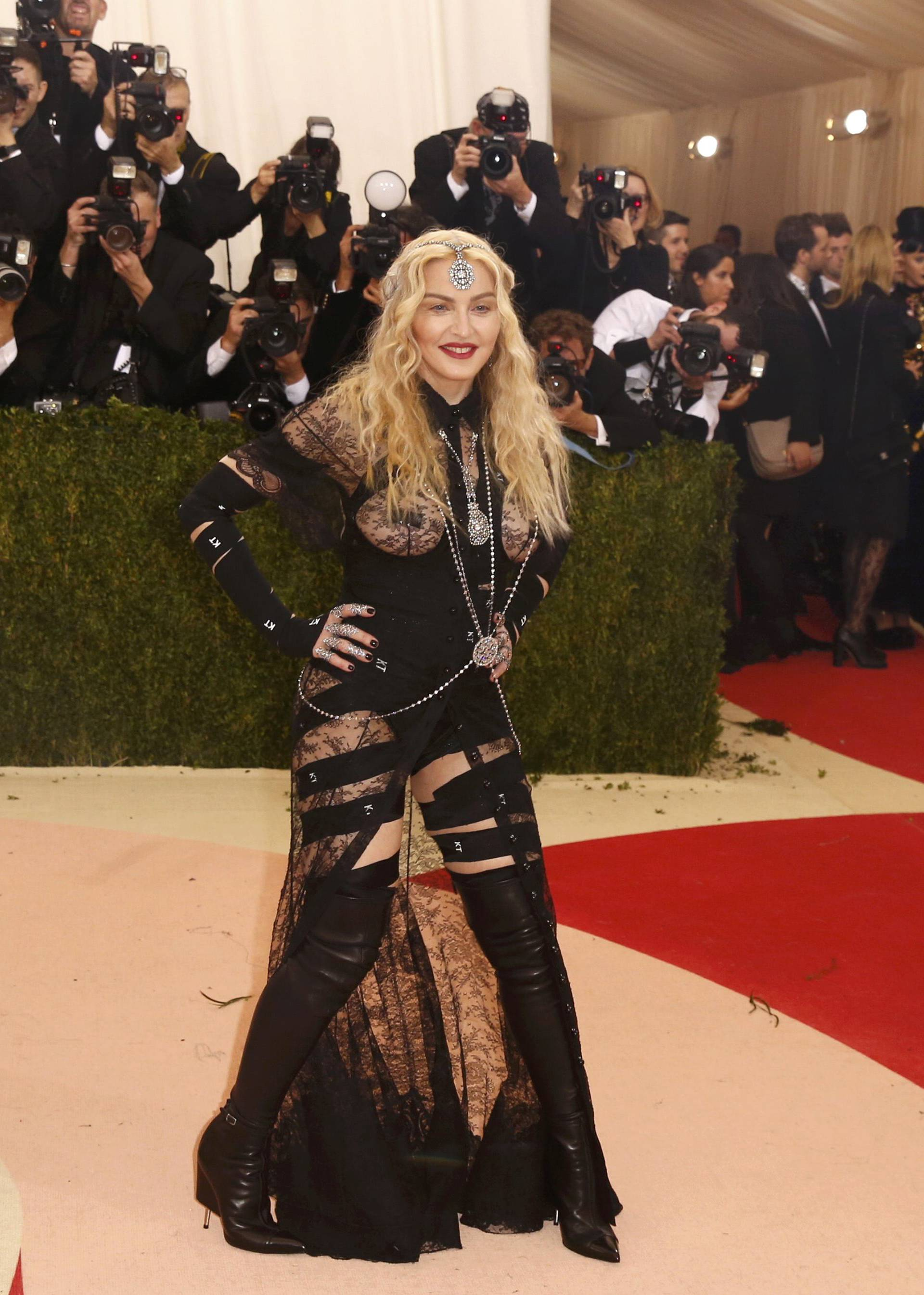 Singer Madonna arrives with designer Tisci at the Met Gala in New York