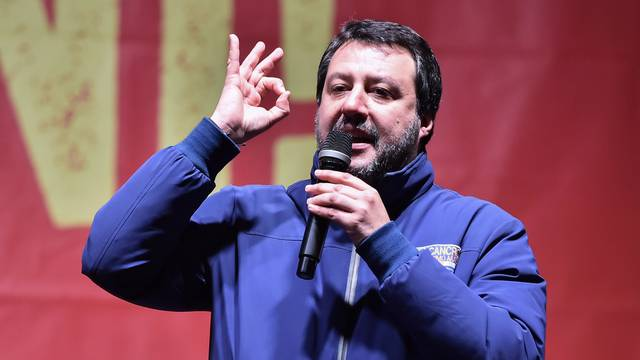 Leader of Italy's far-right League party Matteo Salvini gestures as he speaks during a rally ahead of regional election in Emilia-Romagna, in Bibbiano