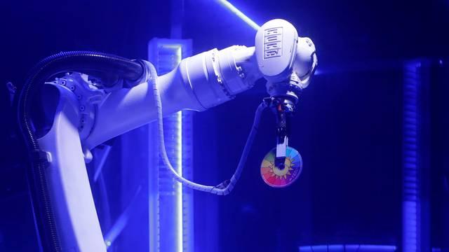 Robotic DJ plays music in Karlovy Lazne Music Club in Prague