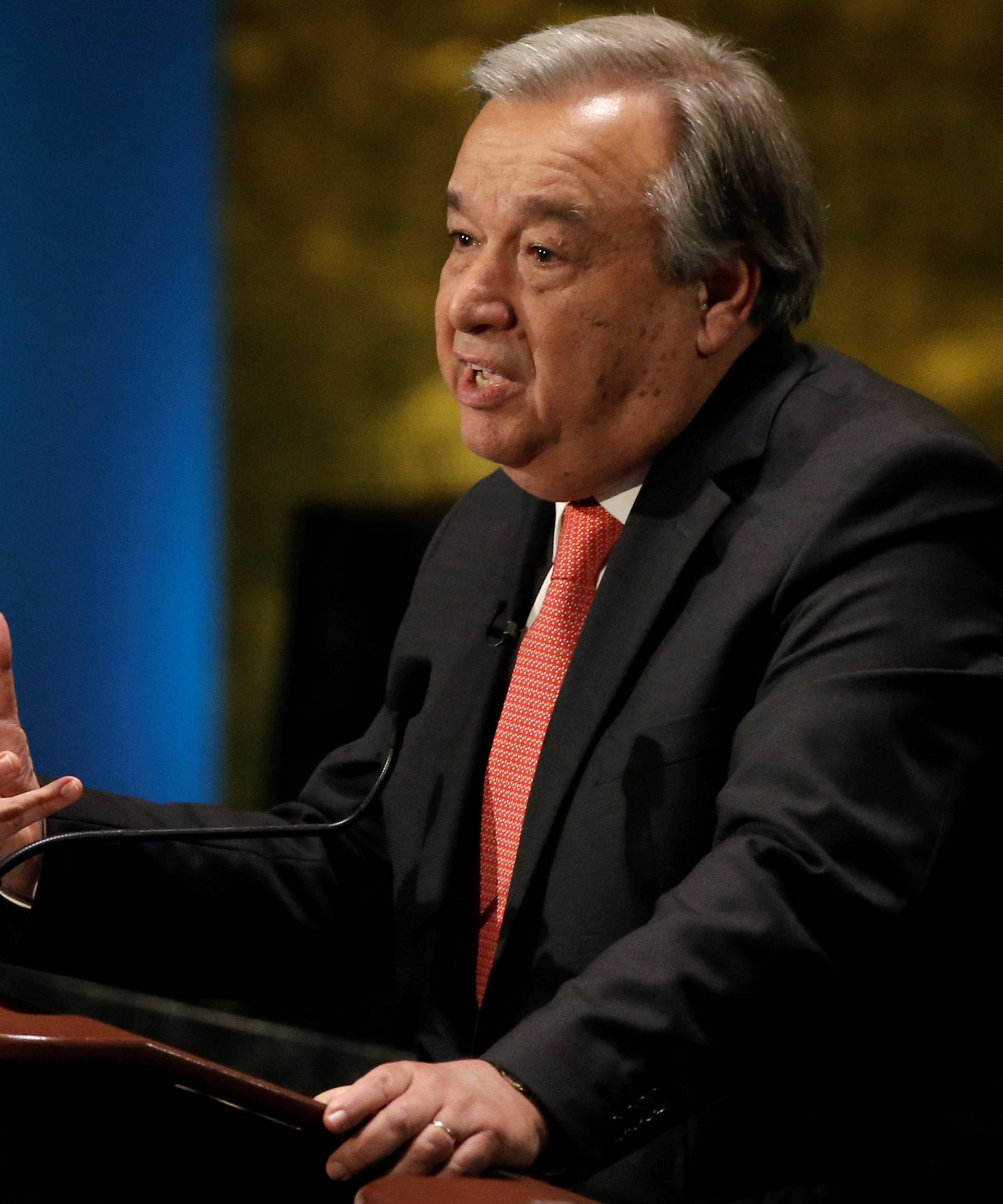 Former U.N. High Commissioner for Refugees Antonio Guterres speaks during a debate in the United Nations General Assembly between candidates vying to be the next U.N. Secretary General at U.N. headquarters in New York