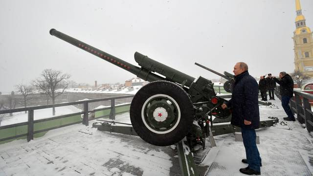 Russian President Putin visits the Peter and Paul Fortress in Saint Petersburg