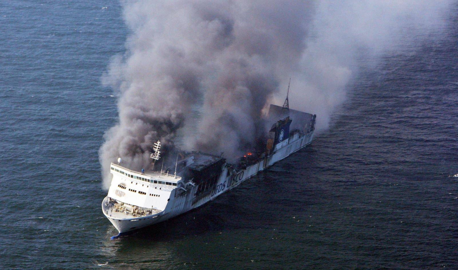 Accident on ferryboat -  'Lisco Gloria' catches fire