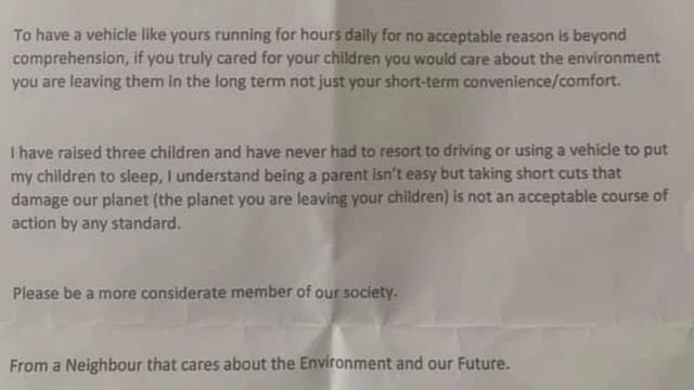 Susjed joj poslao ljuto pismo jer bebu uspavljuje u autu: 'Požalit će što je započeo rat sa mnom'