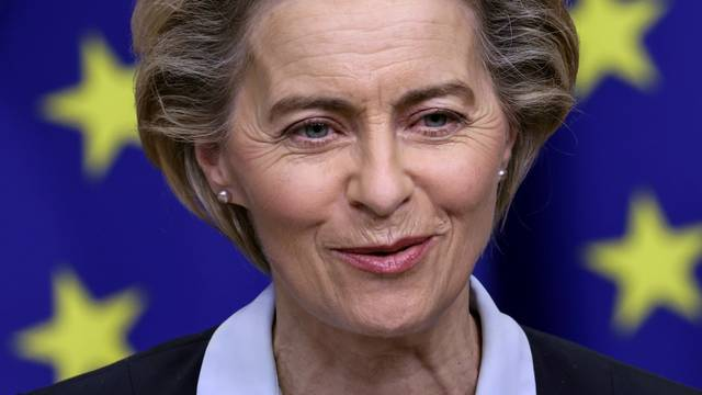 European Commission President Ursula von der Leyen gives a press conference at the European headquarters in Brussel