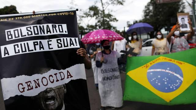 Protest against Brazil's President Bolsonaro and his handling of the coronavirus disease (COVID-19) outbreak in Manaus