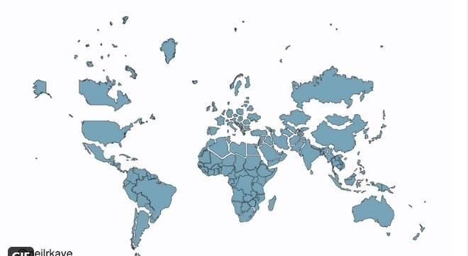Na ovoj stranici možete vidjeti stvarnu veličinu svake države