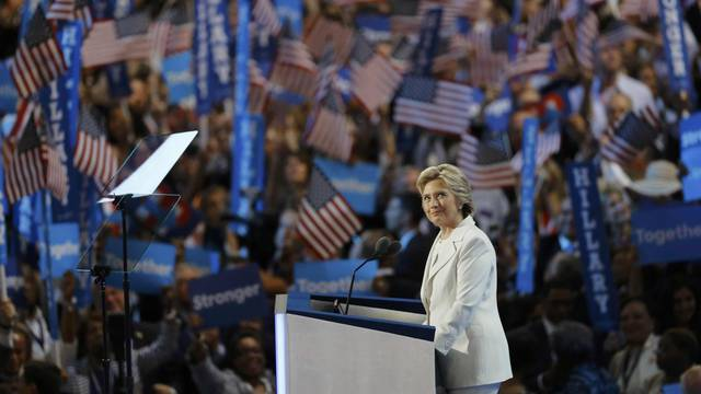 Democratic presidential nominee Hillary Clinton accepts the nomination on the fourth and final night at the Democratic National Convention in Philadelphia