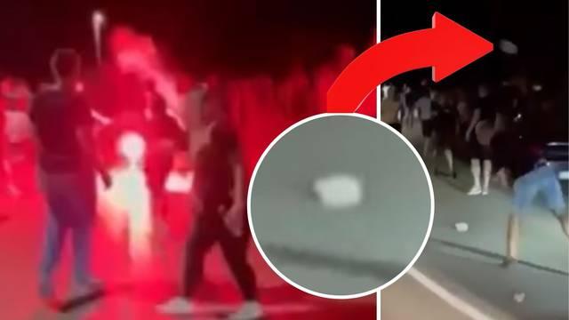 Širi se nevjerojatna snimka iz Primoštena: Huligani se mlate i gađaju betonskim blokovima?!