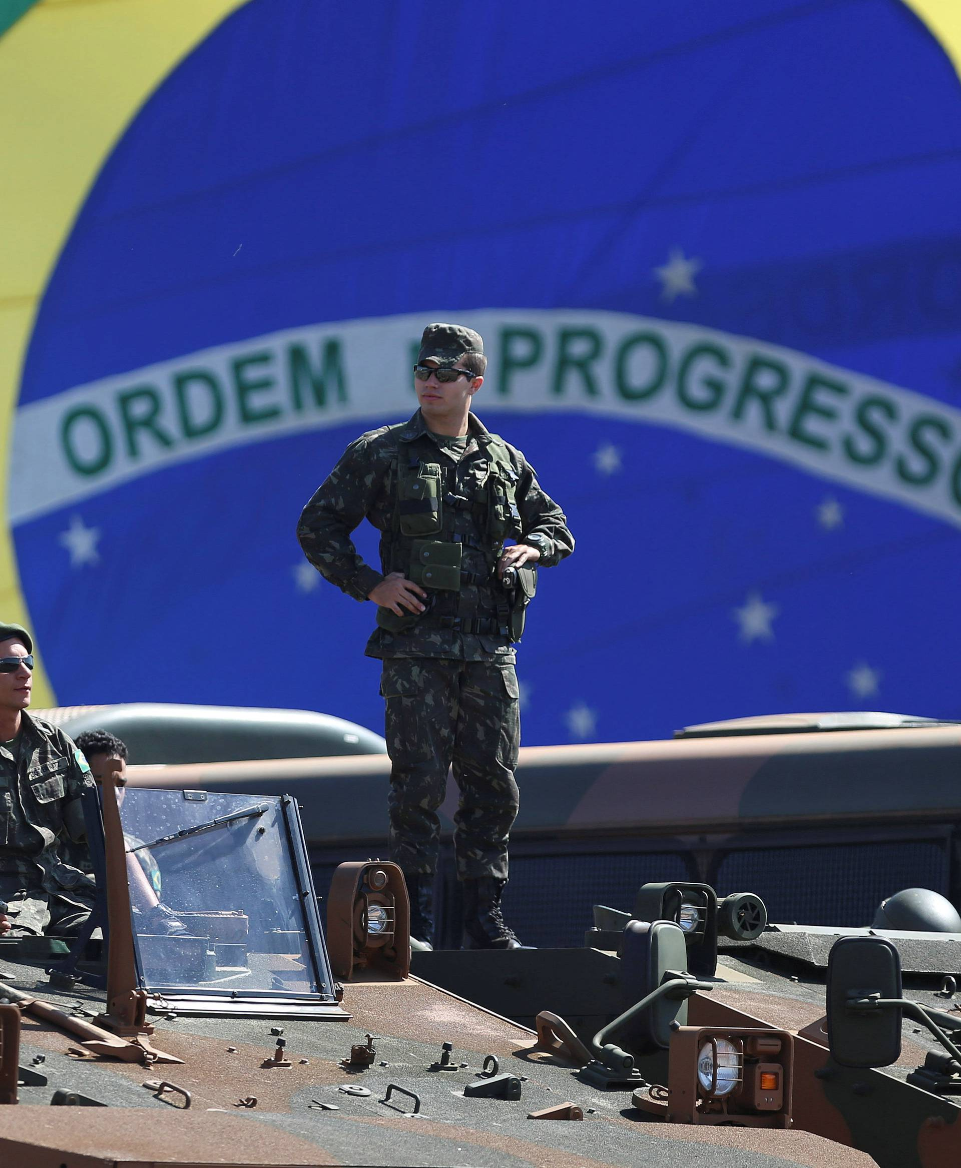 Brazilian police and special military forces are pictured outside the Mane Garrincha Stadium in Brasilia