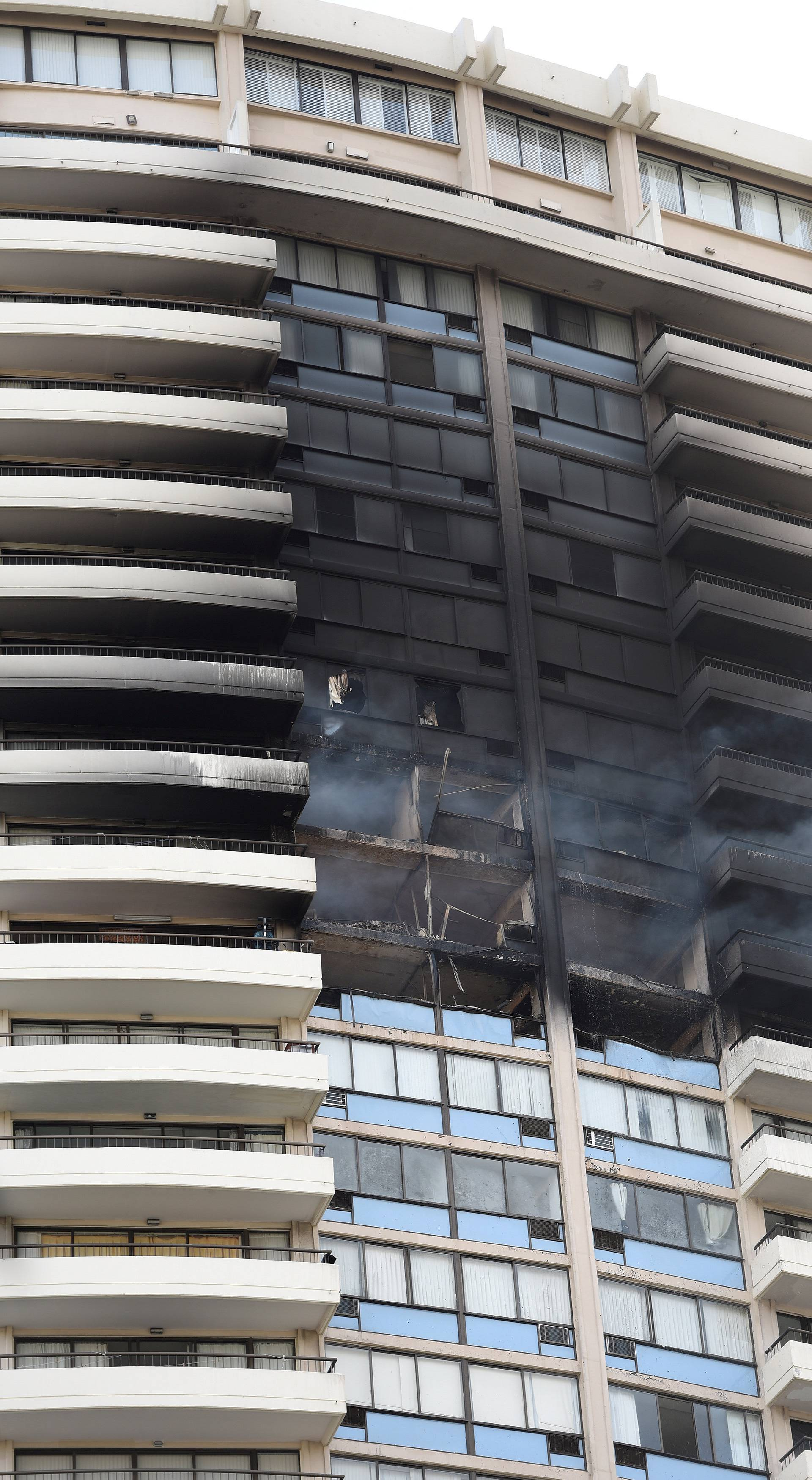 The  Marco Polo apartment building after a fire broke out in it in Honolulu, Hawaii.