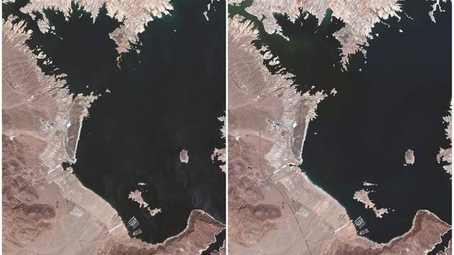 Combination images of southern Lake Mead and Hoover Dam on the Colorado River in 2020 and 2021