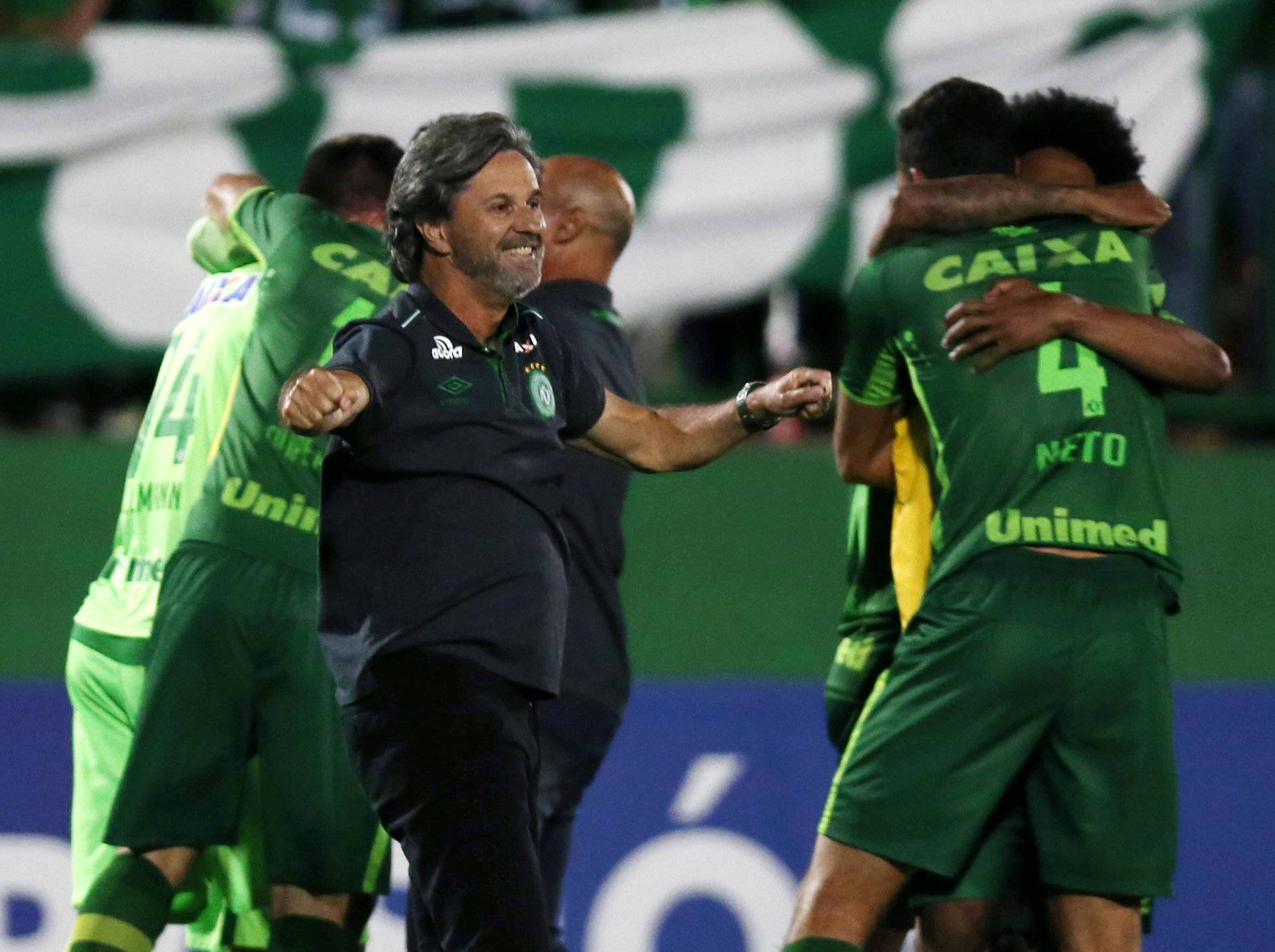 File picture of head coach Caio Junior of Chapecoense celebrating with his players after their match against San Lorenzo  in the Copa Sudamericana at the Arena Conda stadium in Chapeco