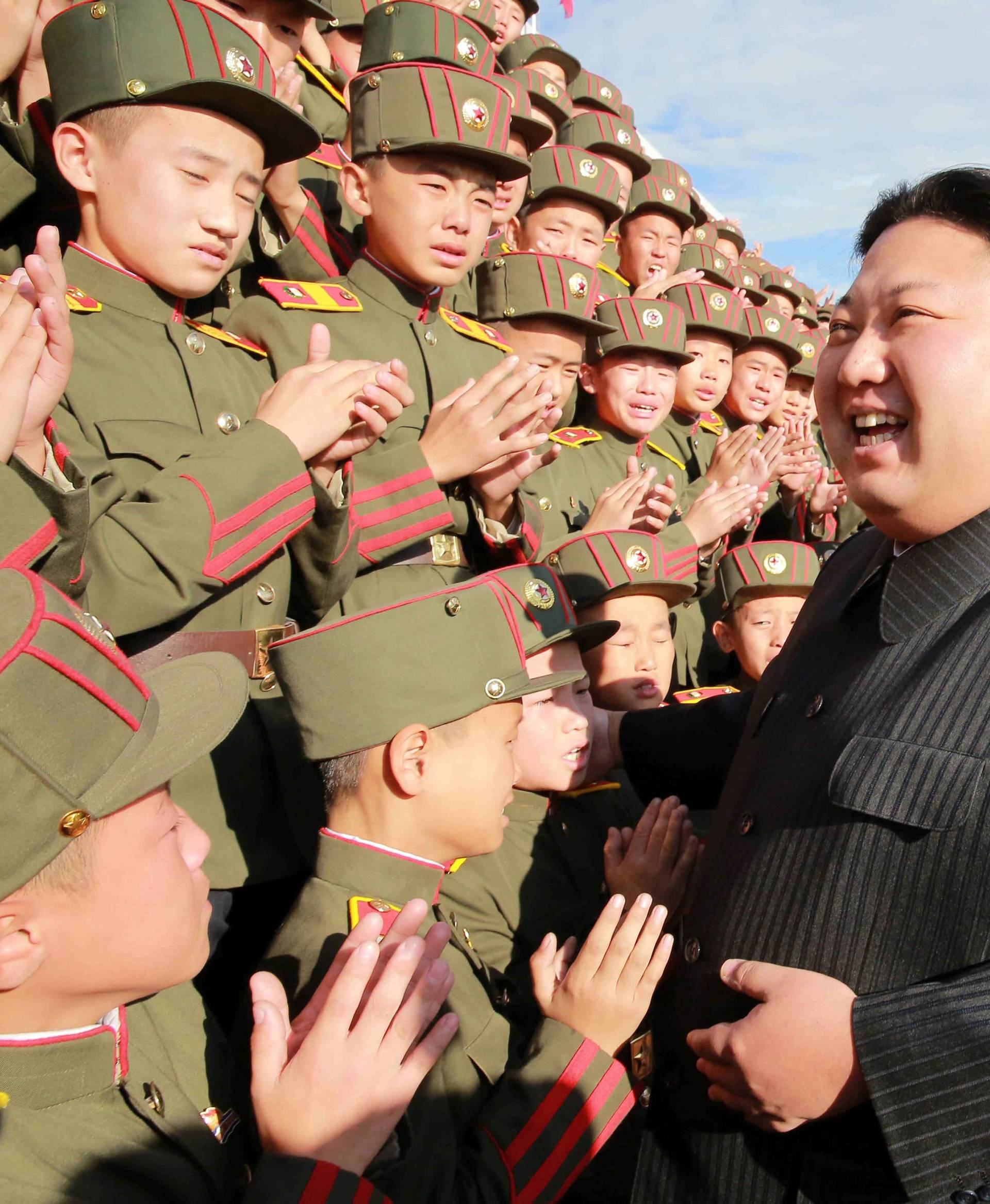 North Korea's leader Kim Jong Un visits the Mangyongdae Revolutionary Academy on its 70th anniversary