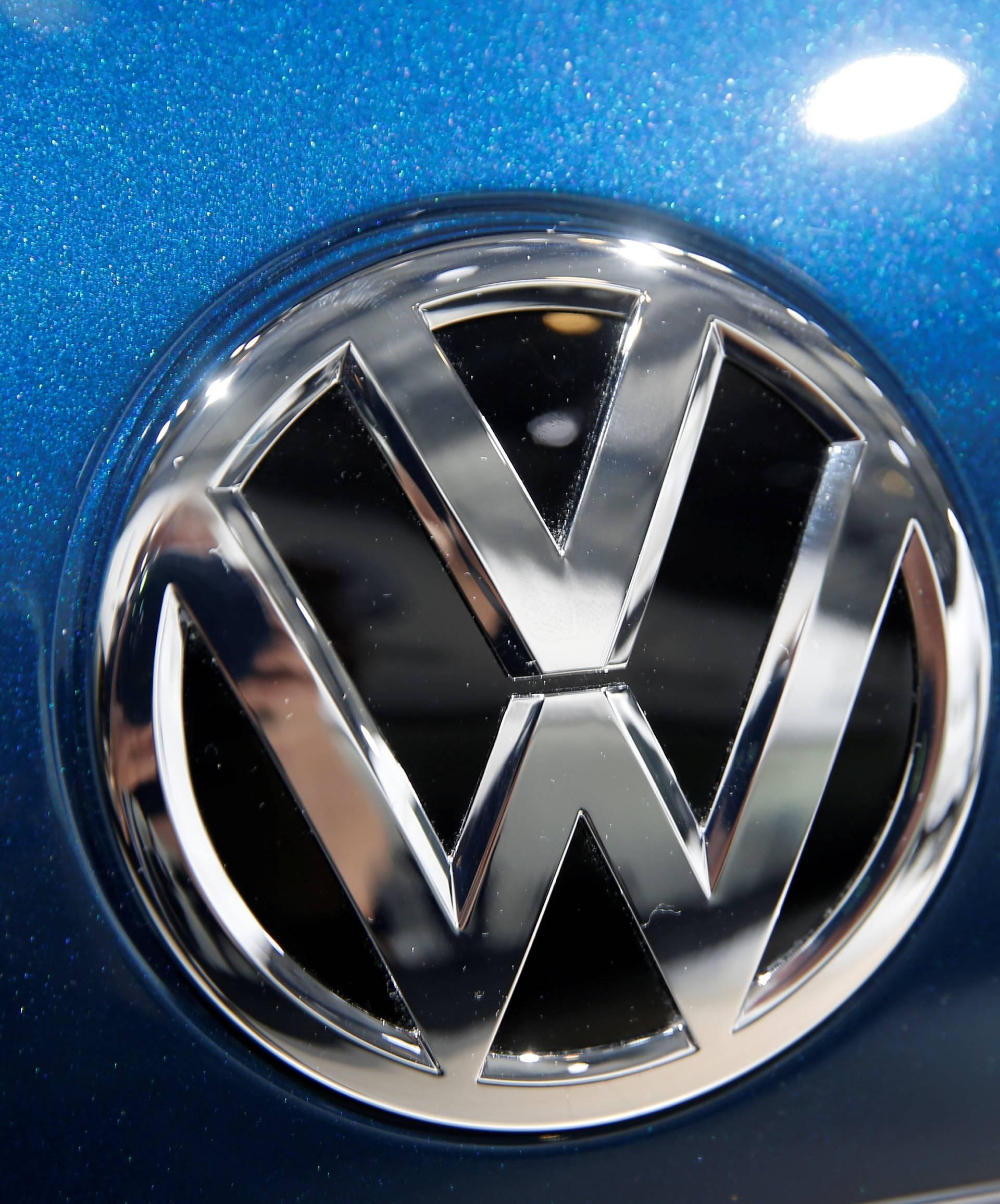 A Volkswagen logo is pictured during the Volkswagen Group's annual general meeting in Berlin