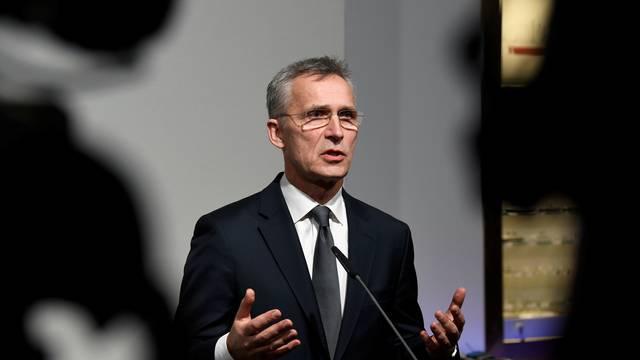 NATO Secretary General Stoltenberg and German Defence Minister Kramp-Karrenbauer speak to reporters in Hamburg