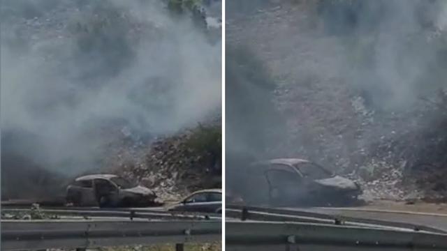 Na Velebitu gorio automobil: Vozač je na vrijeme pobjegao