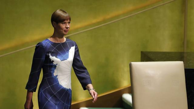 Estonia's President Kersti Kaljulaid arrives to address the 74th session of the United Nations General Assembly at U.N. headquarters in New York City, New York, U.S.