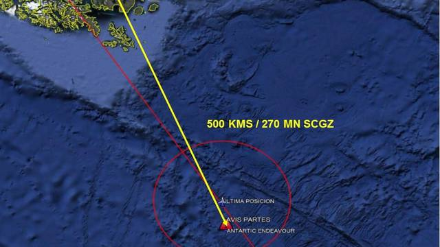 A satellite image shows an area in the Drake Passage or Sea of Hoces where debris, believed by the Chilean Air Force to be from a Hercules C-130 military cargo plane that crashed this week and went missing, was found
