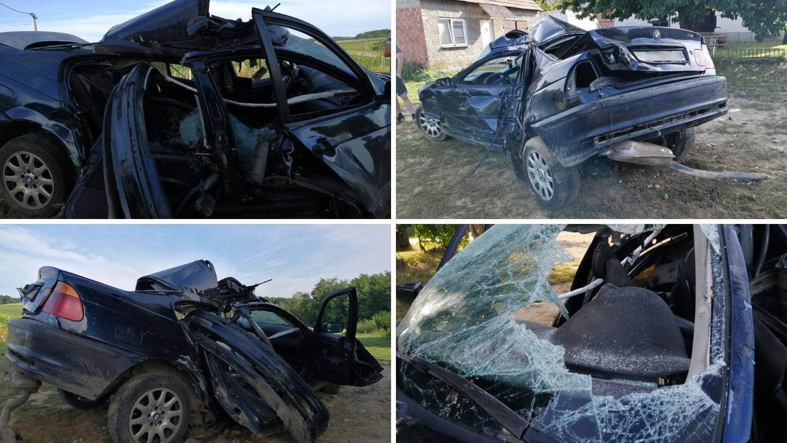 Stravične scene: BMW gotovo prepolovljen, mladić u bolnici