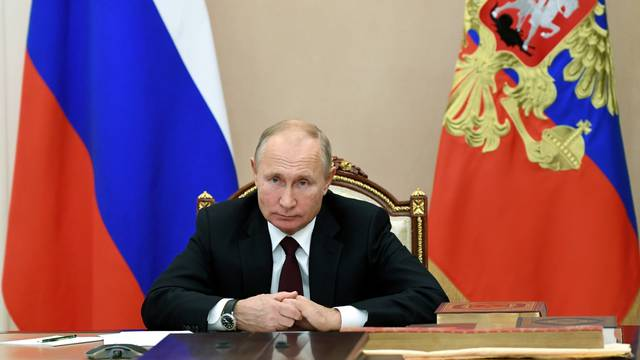 Russian President Putin attends a meeting with heads of religious confessions on the National Unity Day, via a video conference call in Moscow