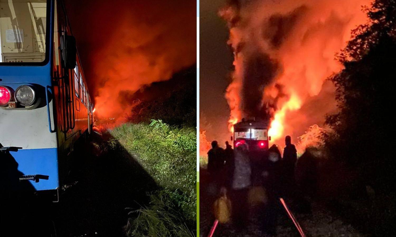 VIDEO Kod Našica gorio vlak: 'Sve je bilo puno dima. Vatra se proširila. Izašli smo na vrijeme'