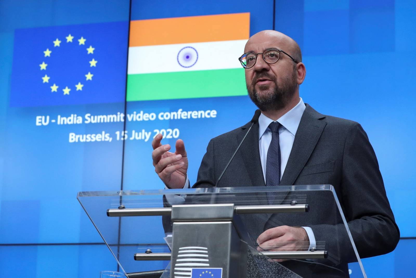 European Council President Charles Michel speaks during a news conference after a virtual summit with Indian Prime Minister Narendra Modi, in Brussels