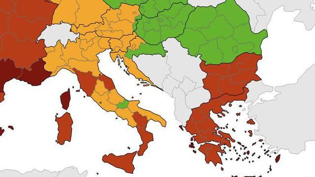 Nova korona karta: Hrvatska je u narančastom, Zagreb nije u crvenom,  Slavonija je zelena