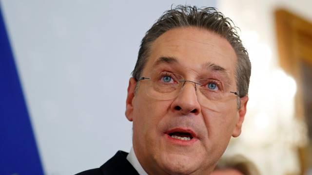Austrian Vice Chancellor Heinz-Christian Strache addresses the media in Vienna