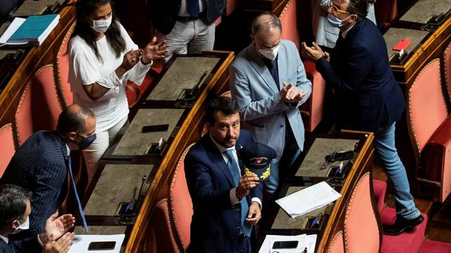 Matteo Salvini addresses upper house of parliament in Rome