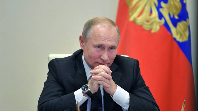 """Russian President VladimirPutin takes part in the """"School of Tomorrow"""" nation-wide open lesson via video-link from the Novo-Ogaryovo residence"""