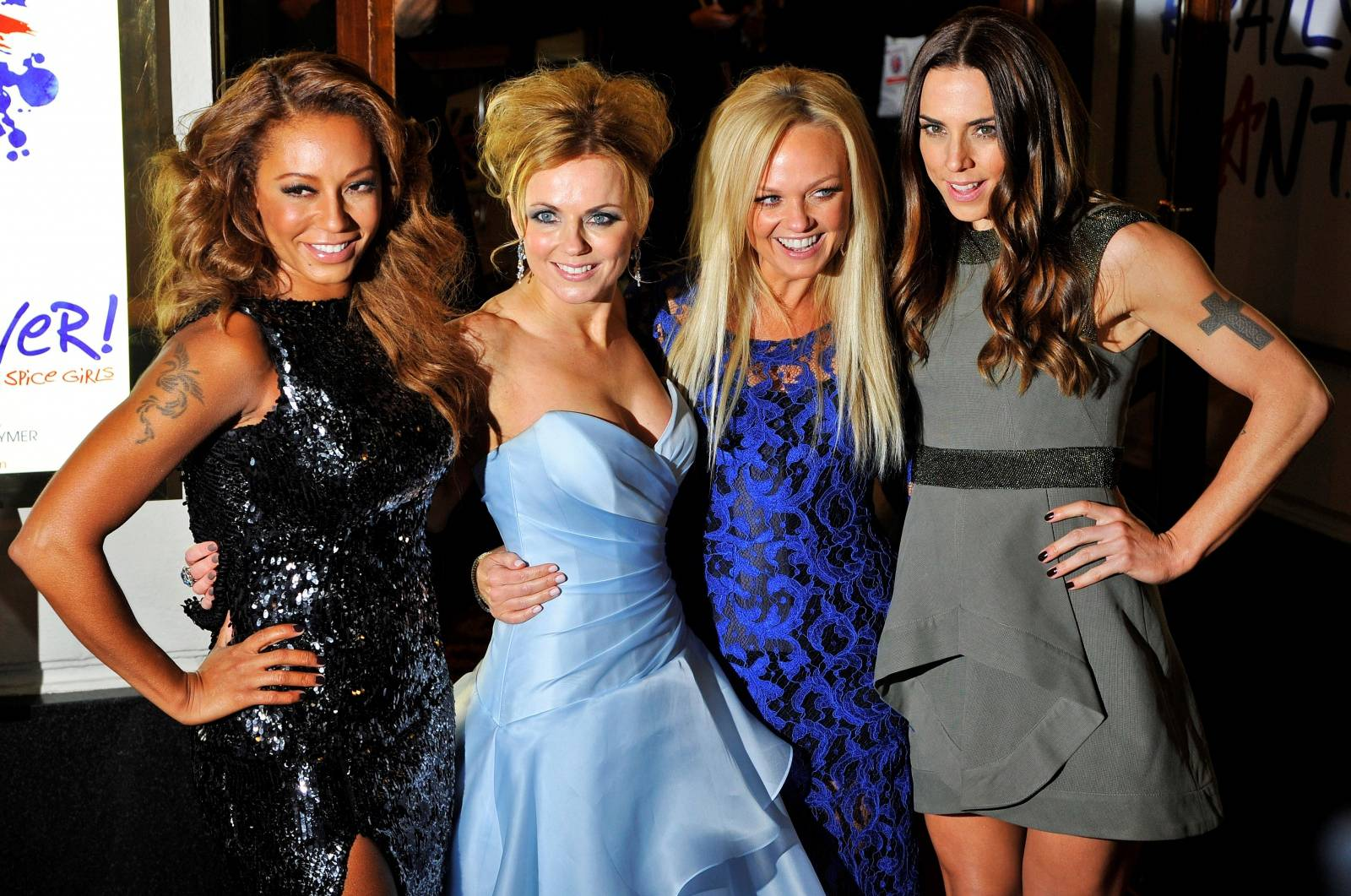 "FILE PHOTO: Spice Girls members arrive for the premiere of the musical ""Viva Forever!"", based on the music of the Spice Girls, in central London"