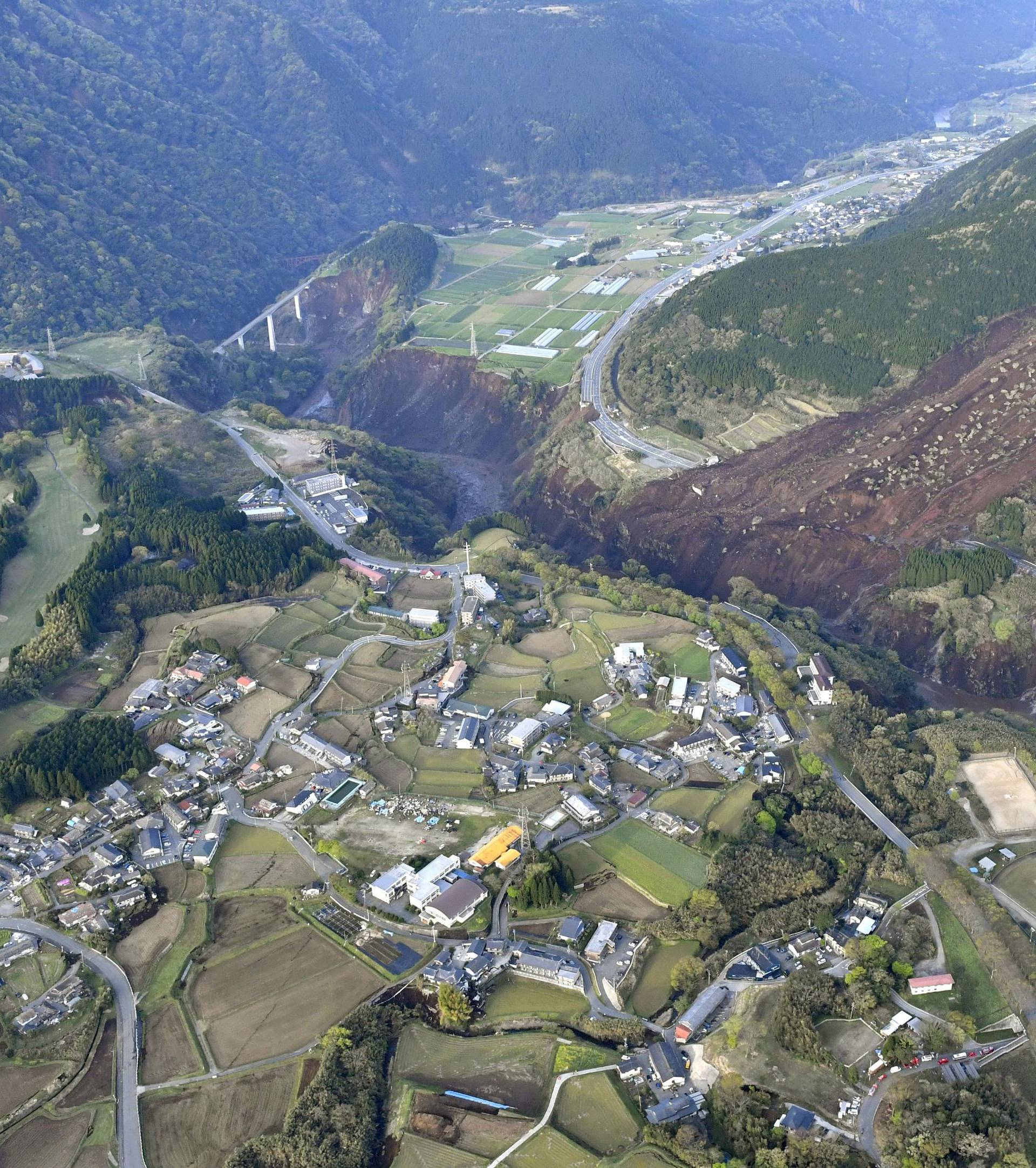 Landslide site caused by an earthquake is seen in Minamiaso town, Kumamoto prefecture, Japan