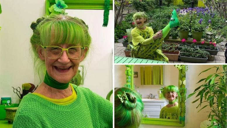 Ova žena zbilja obožava zelenu, skoro je i psa ofarbala u tu boju