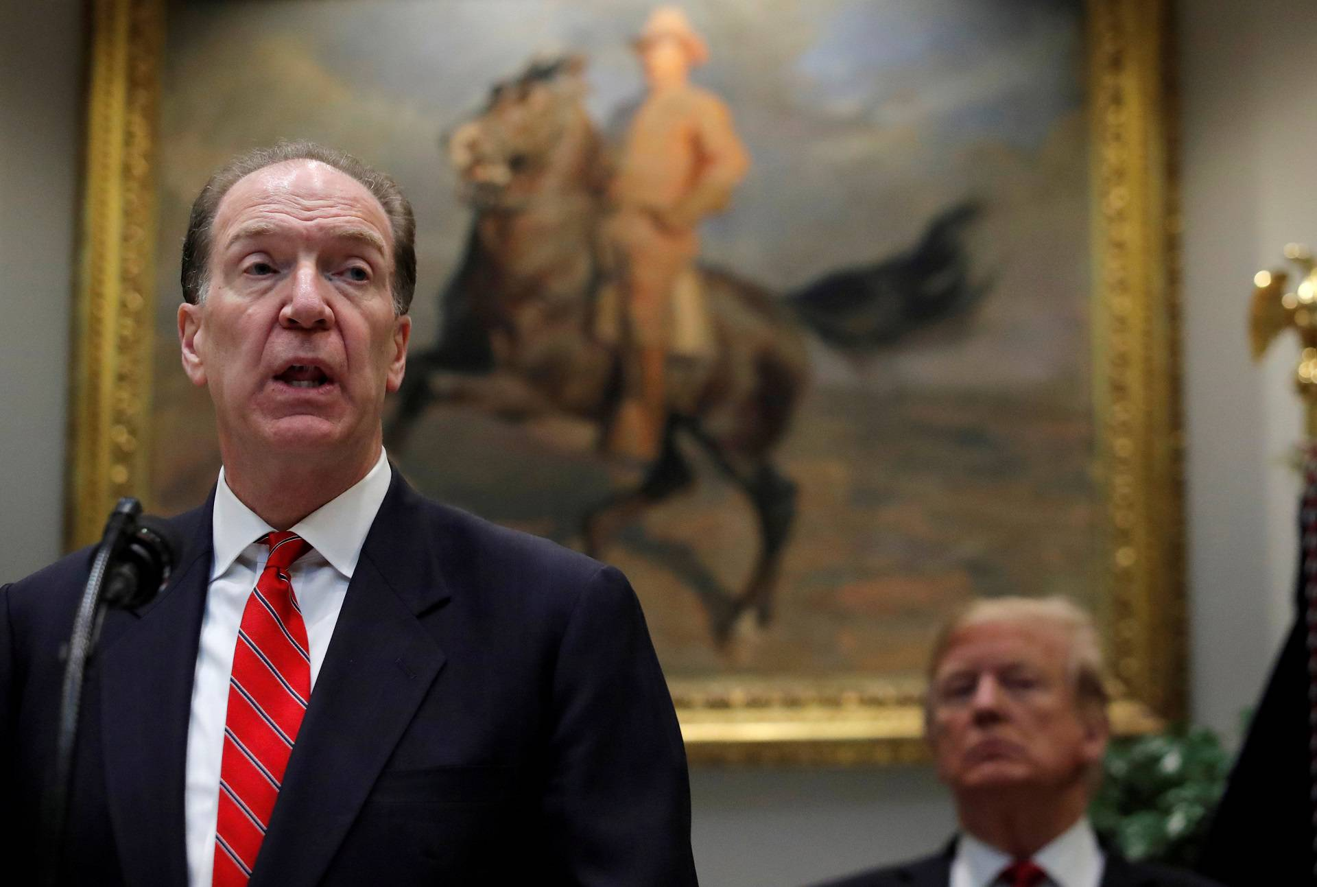 FILE PHOTO: U.S. candidate in election for the next President of the World Bank David Malpass speaks at an event with U.S. President Donald Trump at the White House in Washington