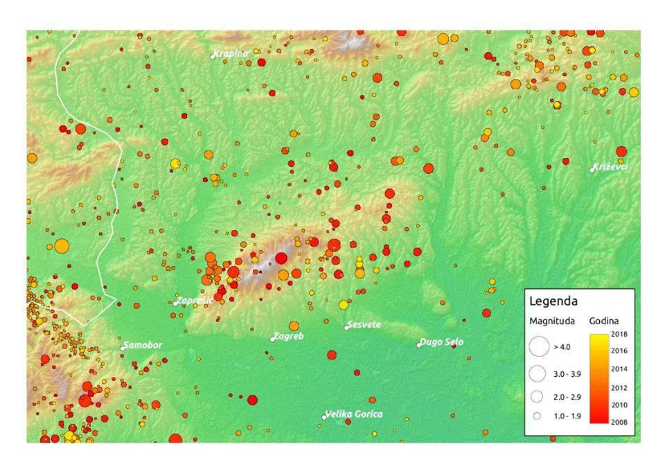 Pogledajte kartu svih potresa većih od jednog Richtera u razdoblju od deset godina