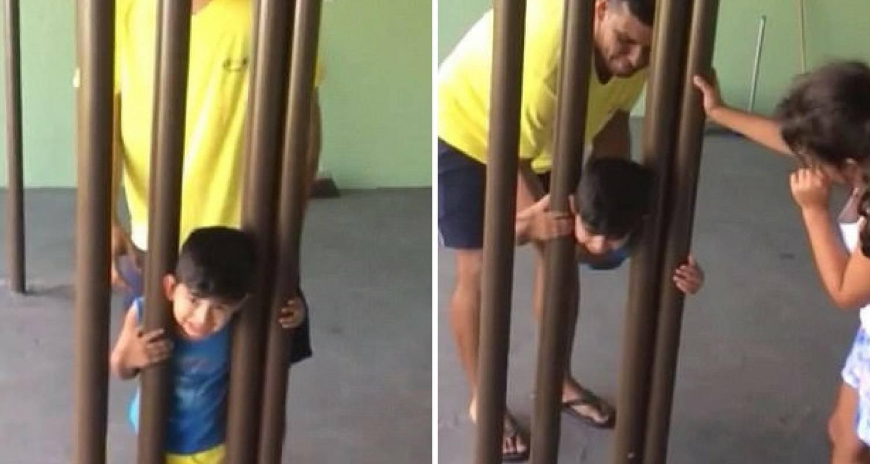 Brazil: Dječak zapeo između šipki