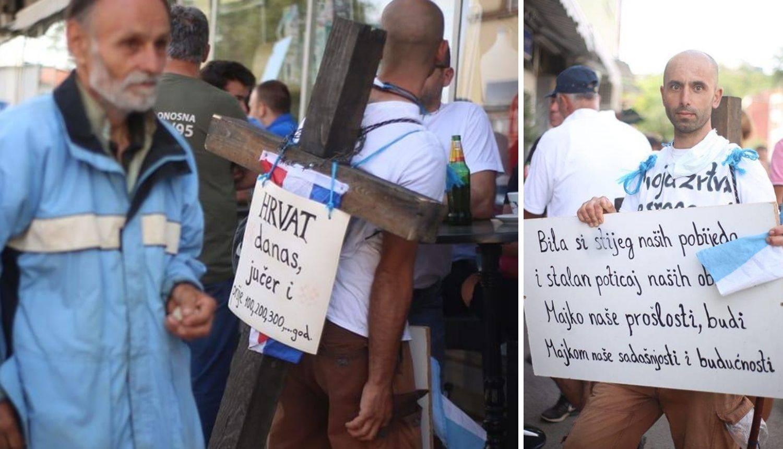 Iz Miljevaca pješačio u Knin, na leđima nosi veliki drveni križ