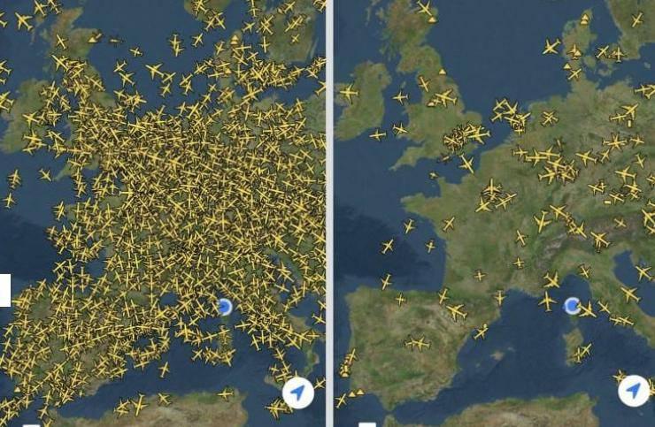Korona prizemljila avione: Ovo je zračni promet iznad Europe