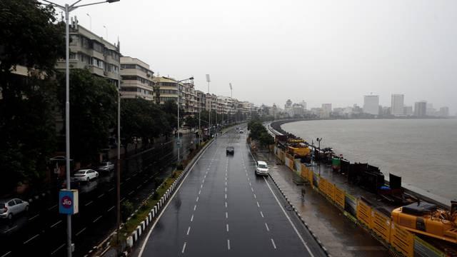 A deserted road is seen at Marine Drive before cyclone Nisarga makes its landfall, in Mumbai