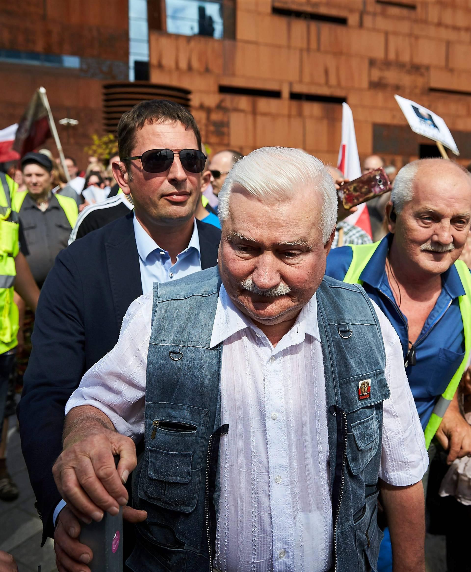 Former Polish President Walesa attends protest against Supreme Court legislation, in Gdansk