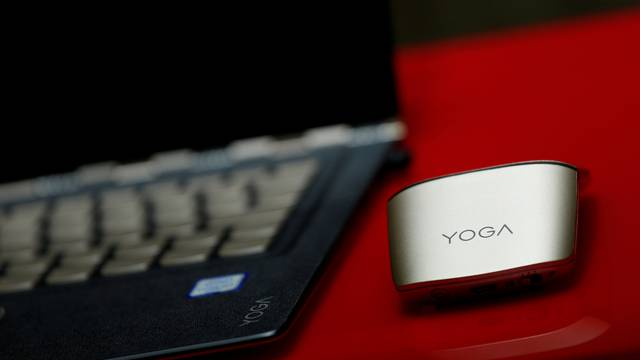 FILE PHOTO: A product of Lenovo is displayed during a news conference on the company's annual results in Hong Kong