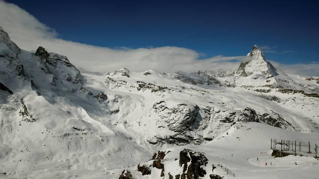 General view shows mount Matterhorn and mount Klein Matterhorn near Zermatt