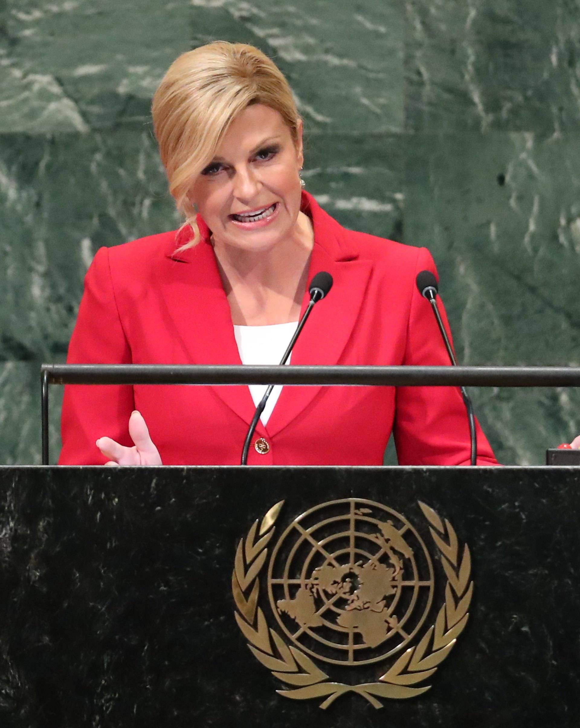 Croatia's President Kolinda Grabar-Kitarovic addresses the United Nations General Assembly in New York