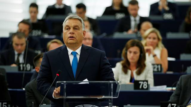 Hungarian Prime Minister Orban delivers a speech during a debate on the situation in Hungary at the European Parliament in Strasbourg