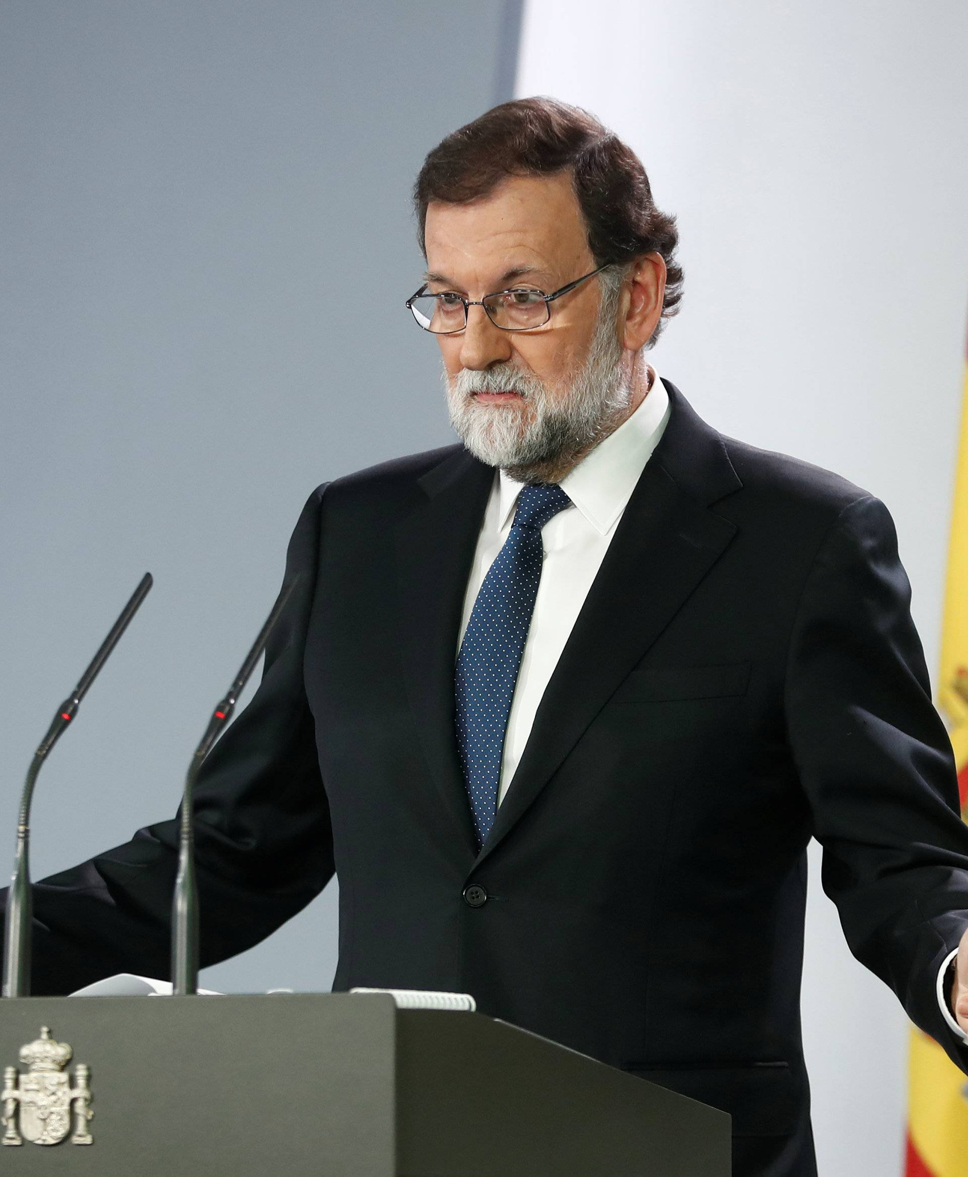 Spain's Prime Minister Mariano Rajoy speaks during a press conference at the Moncloa Palace in Madrid