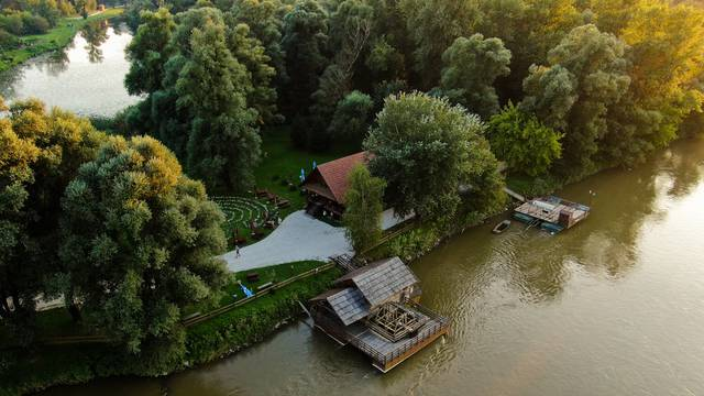 Riverside,Old,Flour,Mill,Aerial,Drone,Image.,River,And,Trees