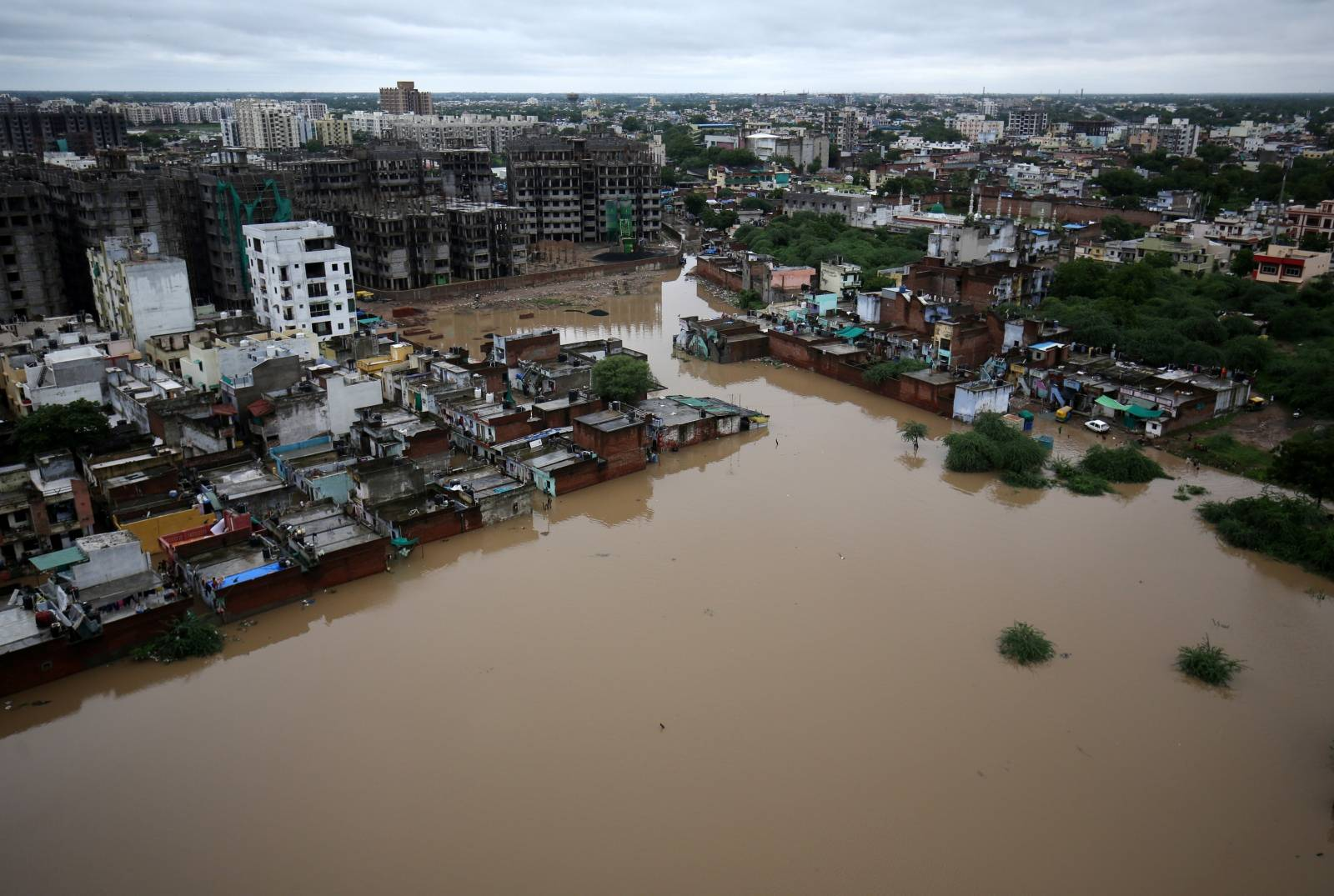 An aerial view shows a flooded residential area after heavy rains in Ahmedabad