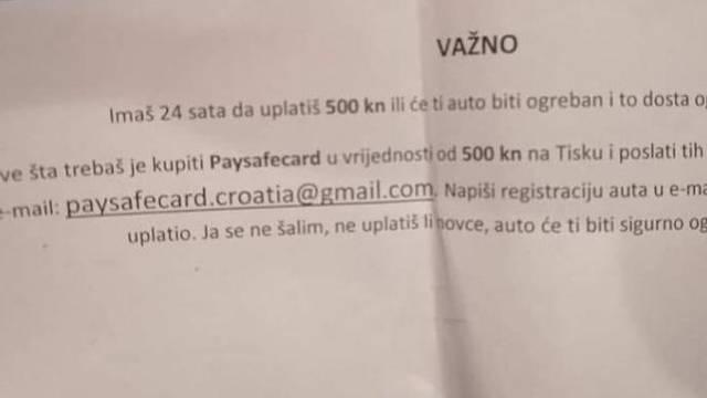 Vozače u Zagrebu dočekale poruke na autima: 'Uplati 500 kuna ili će ti auto biti ogreban'