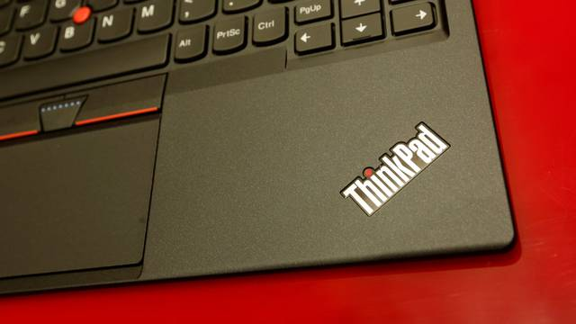 A product of Lenovo is displayed during a news conference on the company's annual results in Hong Kong