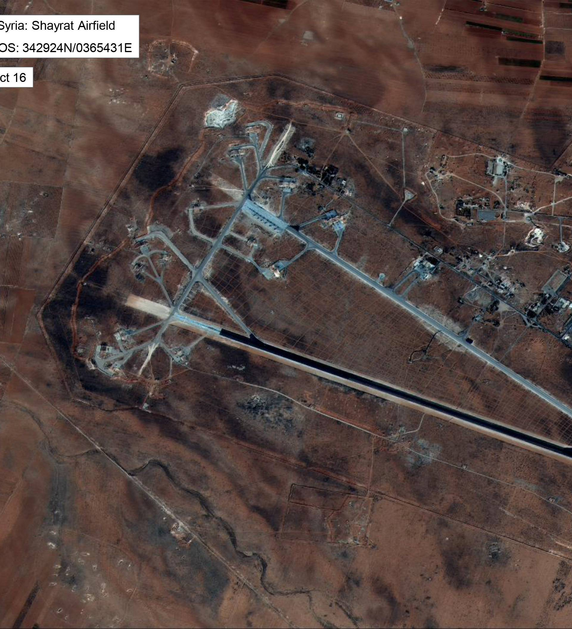 Shayrat Airfield in Homs, Syria is seen in this DigitalGlobe satellite image